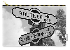 Route 66 Street Sign Black And White Carry-all Pouch