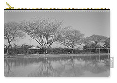 Carry-all Pouch featuring the photograph Row Of Trees Near The Pond by Esther Newman-Cohen
