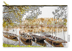 Carry-all Pouch featuring the digital art Rowing Boats And Punts On The Loire France by Anthony Murphy