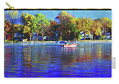 Carry-all Pouch featuring the photograph Roy And Boat Fall Fishing by Tom Jelen