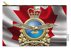 Royal Canadian Air Force Badge Over Waving Flag Carry-all Pouch