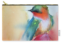 Ruby Throated Hummingbird On A Red Hot Poker Flower Wip Carry-all Pouch