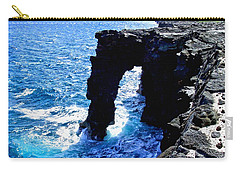 Carry-all Pouch featuring the photograph Rugged Kona Sea Arch by Amy McDaniel