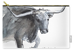 Running Texas Longhorn Watercolor Painting By Kmcelwaine Carry-all Pouch