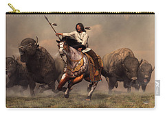 Running With Buffalo Carry-all Pouch by Daniel Eskridge