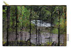 Rushing Cascade In The Andes - On Bark Carry-all Pouch by Al Bourassa