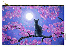 Russian Blue Cat In Pink Flowers Carry-all Pouch by Laura Iverson