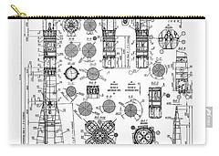 Russian Soyuz Rocket Blueprint Carry-all Pouch by Daniel Hagerman