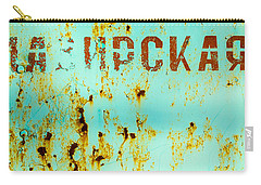 Rust On Metal Russian Letters Carry-all Pouch by John Williams