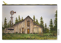 Carry-all Pouch featuring the painting Rustic Barn by James Williamson