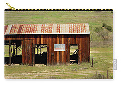 Carry-all Pouch featuring the photograph Rustic Barn With Flag by Art Block Collections