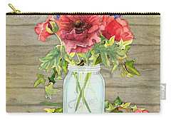 Rustic Country Red Poppy W Alium N Ivy In A Mason Jar Bouquet On Wooden Fence Carry-all Pouch
