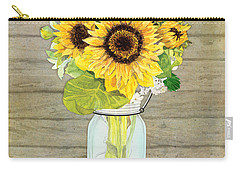 Rustic Country Sunflowers In Mason Jar Carry-all Pouch