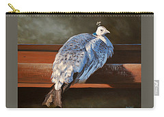Rustic Elegance - White Peahen Carry-all Pouch