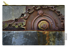 Carry-all Pouch featuring the photograph Rustic Gear And Chain by David and Carol Kelly