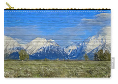 Rustic Grand Teton Range On Wood Carry-all Pouch by Dan Sproul