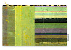 Carry-all Pouch featuring the painting Rustic Green Flag With Stripes by Michelle Calkins