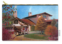 Carry-all Pouch featuring the painting Rustic Lodge by Nancy Lee Moran