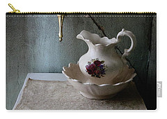 Rustic Water Closet With Brass Sconce And A Pretty Floral Patter Carry-all Pouch