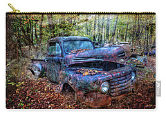 Carry-all Pouch featuring the photograph Rusty Blue Vintage Ford  Truck by Debra and Dave Vanderlaan