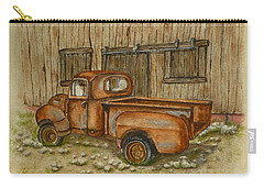 Carry-all Pouch featuring the painting Rusty Old Ford Pickup Truck by Kelly Mills