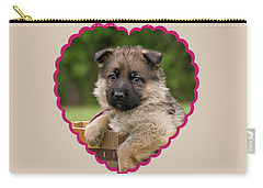 Carry-all Pouch featuring the photograph Sable Puppy In Heart by Sandy Keeton