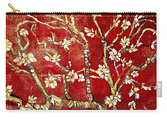 Carry-all Pouch featuring the painting Sac Rouge Avec Fleurs D'almandiers by Belinda Low