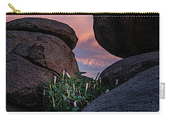 Carry-all Pouch featuring the photograph Sacred Datura Amongst The Boulders by Gaelyn Olmsted