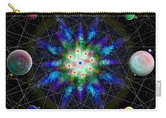 Carry-all Pouch featuring the digital art Sacred Planetary Geometry - Blue Atom Dark by Iowan Stone-Flowers