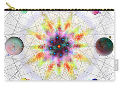 Carry-all Pouch featuring the digital art Sacred Planetary Geometry - Red Atom Light by Iowan Stone-Flowers