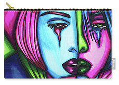 Sad Crying Woman Face Abstract Art Carry-all Pouch