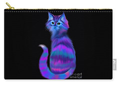 Carry-all Pouch featuring the painting Sad Eyed Colorful Cat by Nick Gustafson