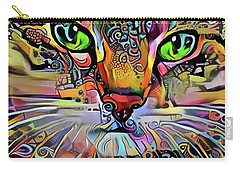 Sadie The Colorful Abstract Cat Carry-all Pouch