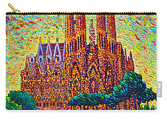 Sagrada Familia Barcelona Modern Impressionist Palette Knife Oil Painting By Ana Maria Edulescu Carry-all Pouch