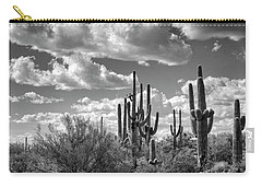 Carry-all Pouch featuring the photograph Saguaro And Blue Skies Ahead In Black And White  by Saija Lehtonen