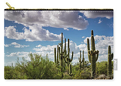 Carry-all Pouch featuring the photograph Saguaro And Blue Skies Ahead  by Saija Lehtonen