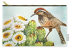 Carry-all Pouch featuring the painting Saguaro And Cactus Wren by Marilyn Smith