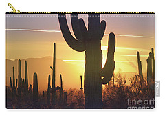 Saguaro Cactus Golden Sunset Mountain Carry-all Pouch by Andrea Hazel Ihlefeld