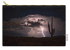 Carry-all Pouch featuring the photograph Saguaro Lit Up By The Lightning  by Saija Lehtonen