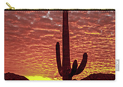 Carry-all Pouch featuring the photograph Saguaro Sunrise by Robert Bales