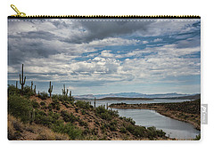 Carry-all Pouch featuring the photograph Saguaro With A Lake View  by Saija Lehtonen