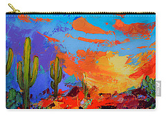 Saguaros Land Sunset Carry-all Pouch