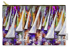 Carry-all Pouch featuring the painting La Regata Decorative Horizontal Panorama Painting By Olena by OLena Art Brand