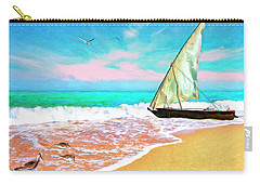 Sail Boat On The Shore Carry-all Pouch