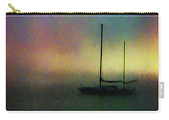 Carry-all Pouch featuring the mixed media Sailboat At Sunset by John A Rodriguez