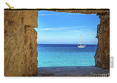 Sailboat Through The Old Stone Walls Of Rhodes, Greece Carry-all Pouch
