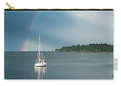 Sailboat Under The Rainbow Carry-all Pouch by Mary Lee Dereske