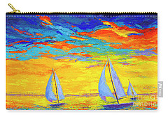 Sailboats At Sunset, Colorful Landscape, Impressionistic Art Carry-all Pouch