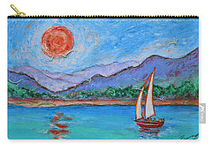 Carry-all Pouch featuring the painting Sailing Red Sun by Xueling Zou