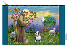 Saint Francis Blesses A Brown And White English Bulldog Carry-all Pouch